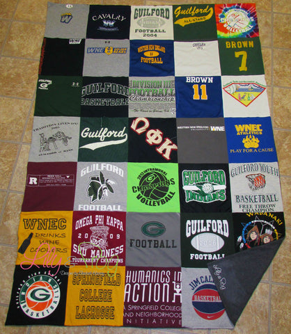 "Keepsake T-Shirt Blanket Size Extra Large (Small Twin Blanket) with 12""x12"" squares"