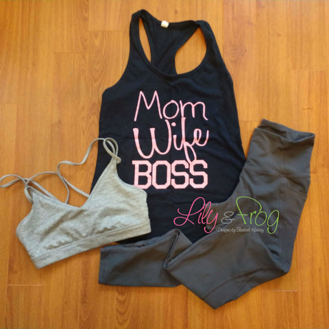 Mom Wife Boss Women's Racerback & Fitted Tank Top