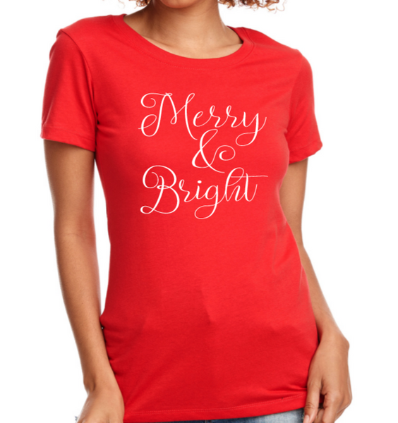 Merry & Bright Women's Long Sleeve Sweatshirt & Fitted T-Shirt