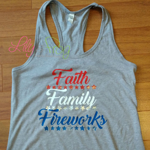 Faith Family Fireworks Women's Racerback