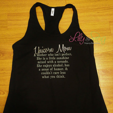 Unicorn Mom in a Tornado Women's Racerback