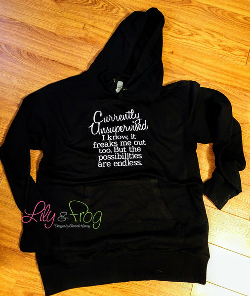 Currently Unsupervised Women's Lightweight Hooded Sweatshirt & Long Sleeve Wide Neck Sweater