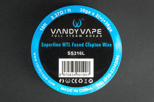 VandyVape Superfine MTL Fused Clapton SS316L Wire 30GA*2(=)38GA 10ft - The Mist Factory Melbourne Vape Store