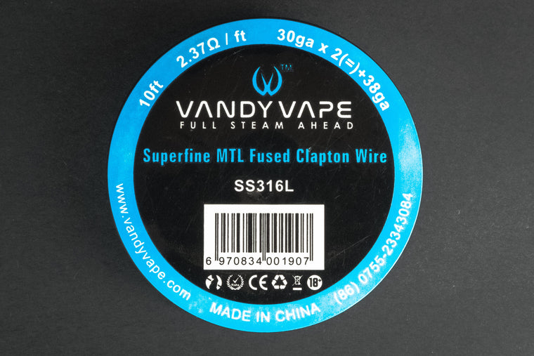 Vandy Vape Superfine MTL Fused Clapton SS316L Wire 30GA*2(=)38GA 10ft - The Mist Factory Melbourne Vape Store