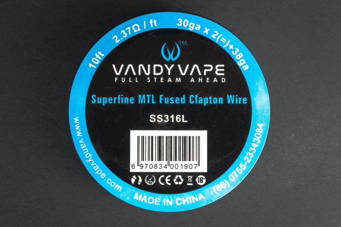 VandyVape Superfine MTL Fused Clapton SS316L Wire 30GA*2(=)38GA 10ft - The Mist Factory