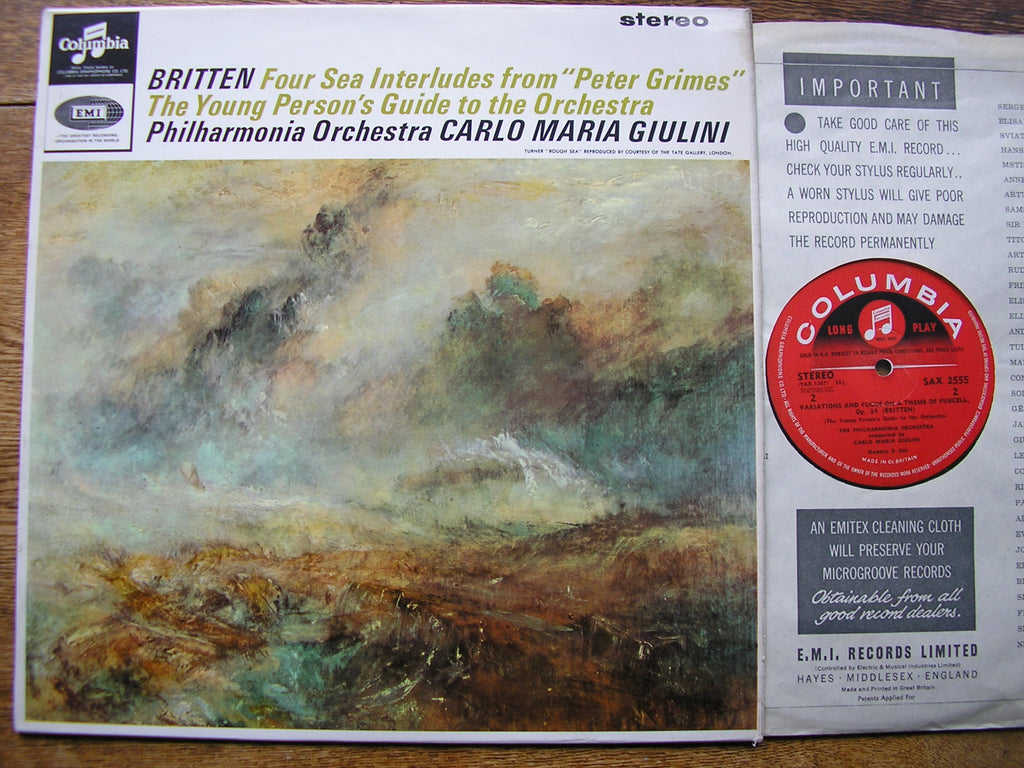 BRITTEN: YOUNG PERSON'S GUIDE / FOUR SEA INTERLUDES   GIULINI / PHILHARMONIA  SAX 2555