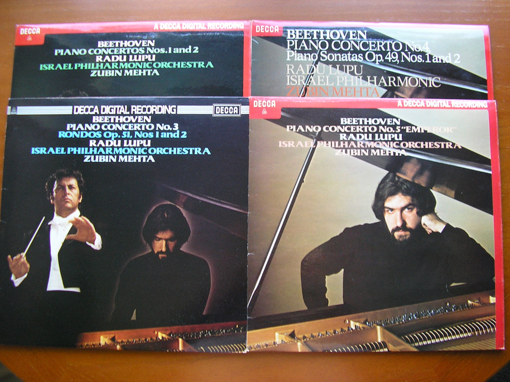BEETHOVEN: THE PIANO CONCERTOS    RADU LUPU / ISRAEL PHILHARMONIC / MEHTA    4 LP SET