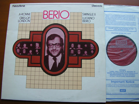 BERIO: A-RONNIE / CRIES OF LONDON    SWINGLE II / LUCIANO BERIO   HEAD 15