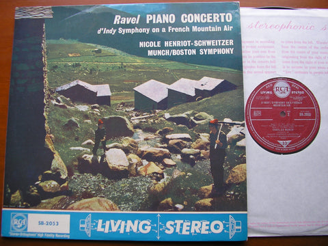 RAVEL: PIANO CONCERTO in G / D'INDY: SYMPHONY ON A FRENCH MOUNTAIN AIR   HENRIOT-SCHWEITZER / BOSTON SYMPHONY / MUNCH   SB 2053