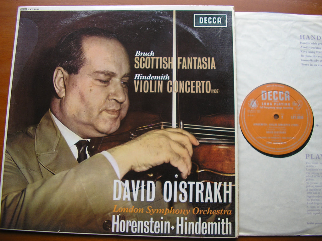 BRUCH: SCOTTISH FANTASIA / HINDEMITH: VIOLIN CONCERTO    OISTRAKH / LONDON SYMPHONY ORCHESTRA / HORENSTEIN / HINDEMITH   LXT 6035