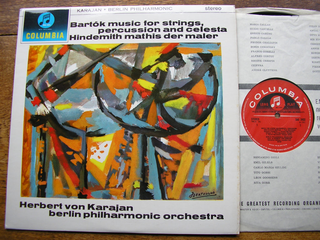 BARTOK: MUSIC FOR STRINGS, PERCUSSION & CELESTA / HINDEMITH: MATHIS DER MALER   KARAJAN / BERLIN PHILHARMONIC  SAX  2432