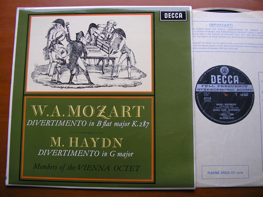 MOZART: DIVERTIMENTO K287 / MICHAEL HAYDN: DIVERTIMENTO in G    MEMBERS OF THE VIENNA OCTET    SXL 6055