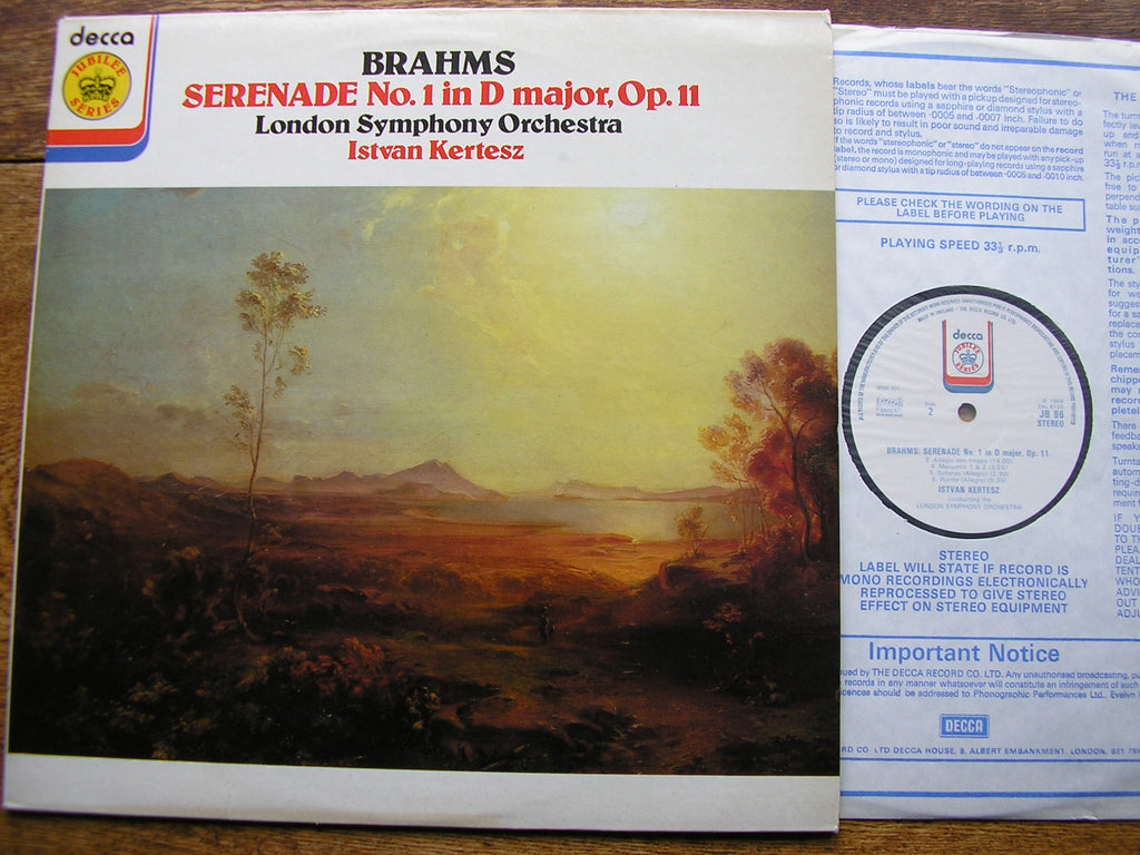 BRAHMS: SERENADE No. 1 in D    KERTESZ / LONDON SYMPHONY   JB 86