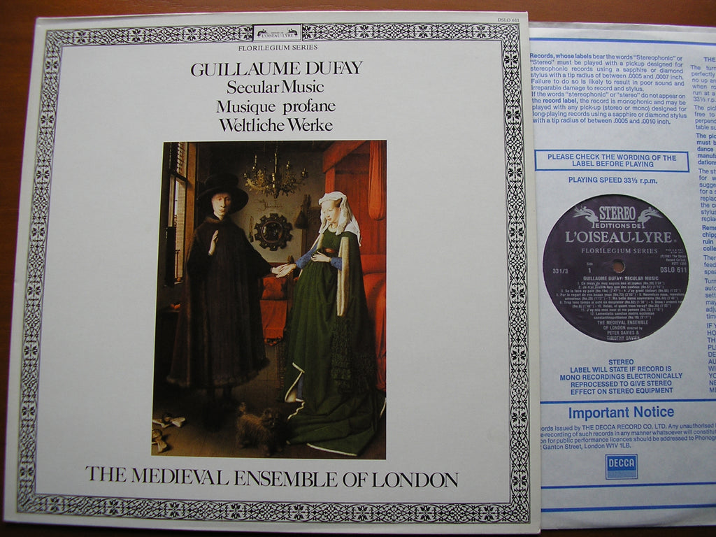 DUFAY: SECULAR MUSIC    THE MEDIEVAL ENSEMBLE OF LONDON    DSLO 611