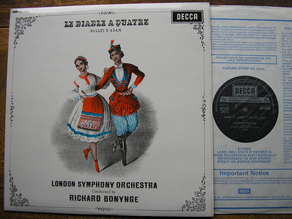 ADAM: LE DIABLE A QUATRE   RICHARD BONYNGE / LONDON SYMPHONY ORCHESTRA    SXL 6188