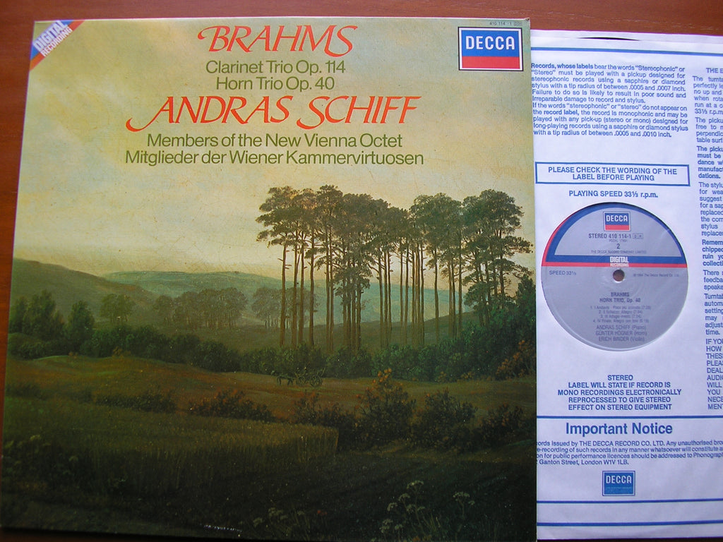 BRAHMS: CLARINET TRIO / HORN TRIO   SCHIFF / MEMBERS OF THE NEW VIENNA OCTET     410 114