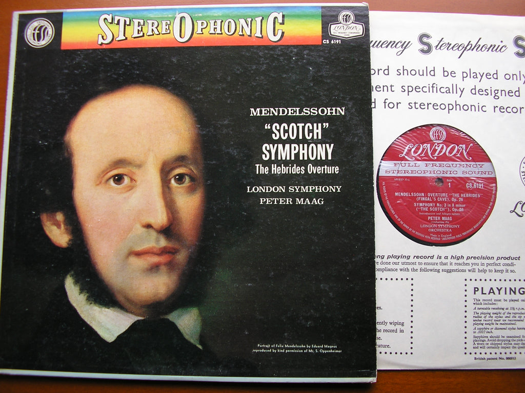 MENDELSSOHN: SYMPHONY No. 3 'Scotch' / HEBRIDES OVERTURE   MAAG / LONDON SYMPHONY  CS 6191