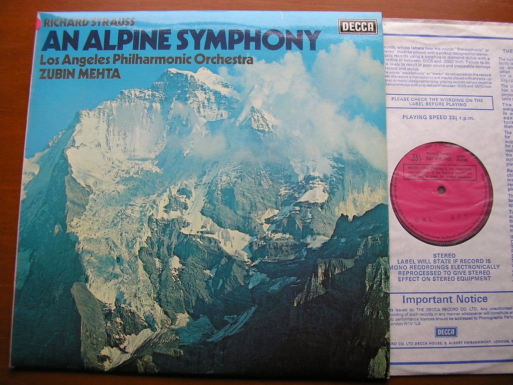 STRAUSS: AN ALPINE SYMPHONY   MEHTA / LOS ANGELES PHILHARMONIC   SXL 6752