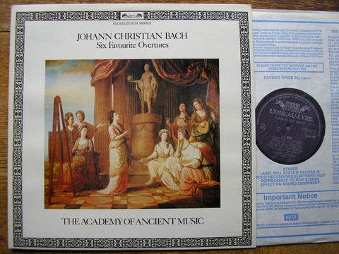 BACH, JOHANN CHRISTIAN: SIX FAVOURITE OVERTURES CHRISTOPHER HOGWOOD / ACADEMY OF ANCIENT MUSIC DSLO 525