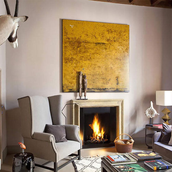 Project Italy, living room with fireplace, Fabrizio Cocchi interior designer