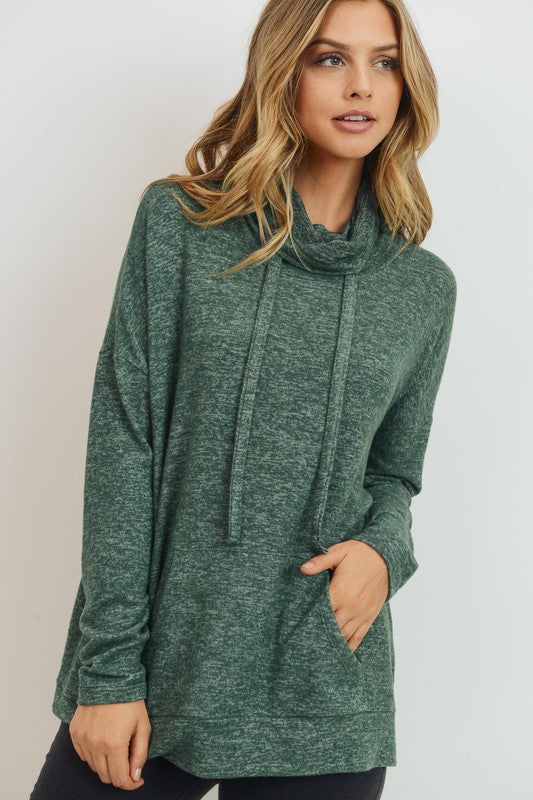 Brushed knit cowl neck pullover