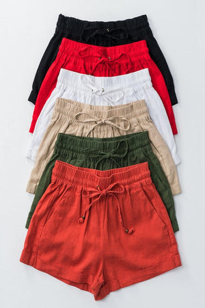 Linen waistband shorts with tie