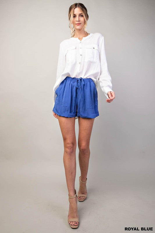 Royal blue linen shorts
