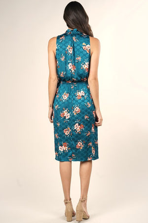 Floral Print Sleeveless Satin Midi Dress
