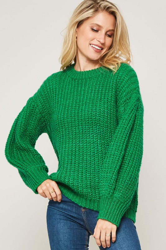 Chunky knit kelly green sweater