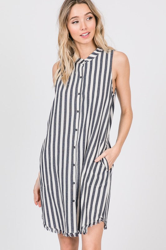 Navy stripe button down shirt dress