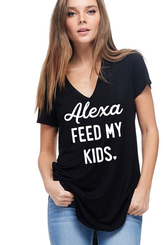 Alexa feed my kids black vneck