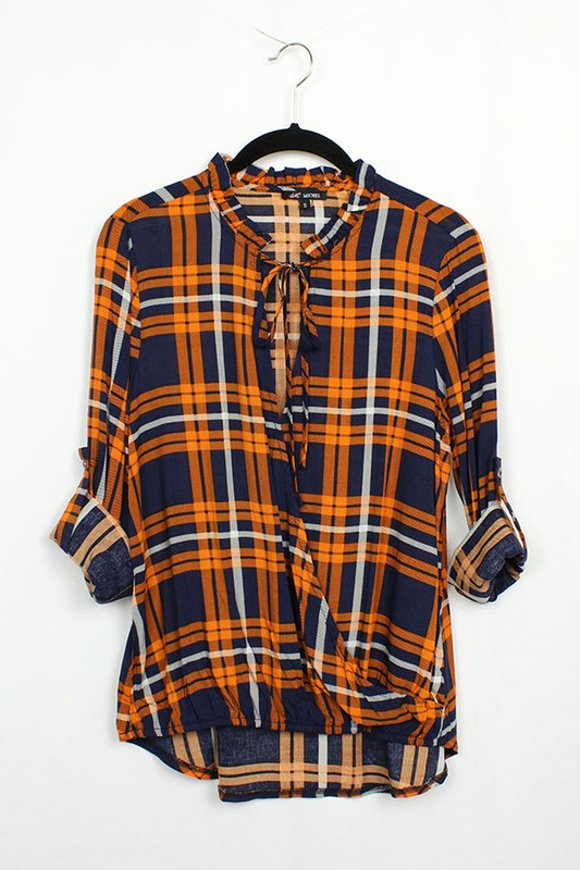 Orange/Navy Plaid top with keyhole opening