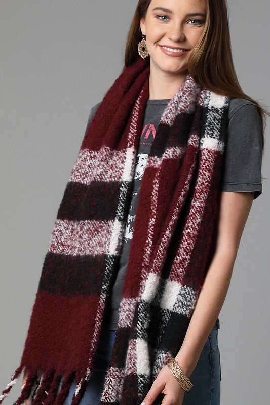 Brushed plaid scarf with tassel accent