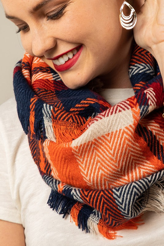 Navy/orange infinity scarf