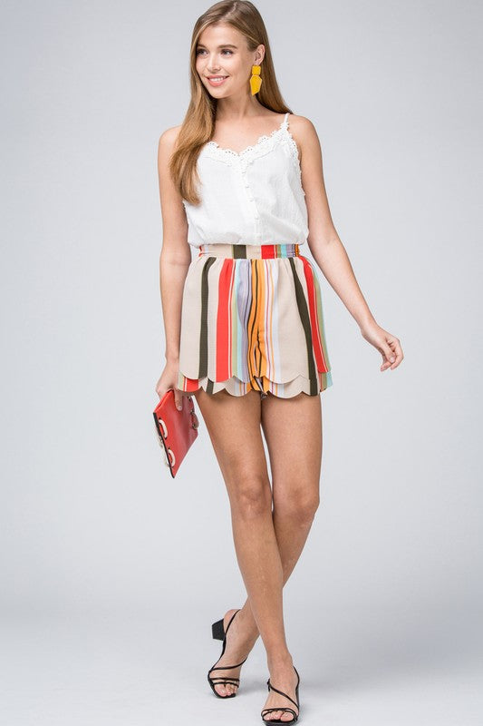 Scalloped stripe shorts