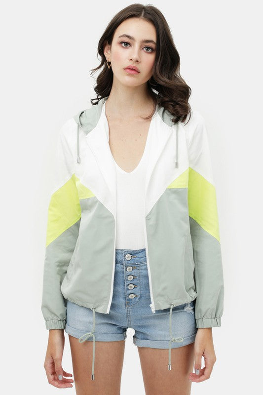 Mint colorblock windbreaker