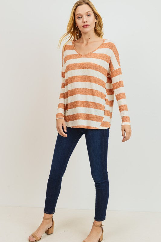Burnt orange and ivory striped vneck