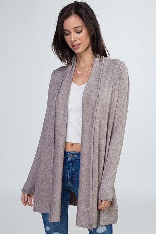 Heatered Mocha soft open cardi