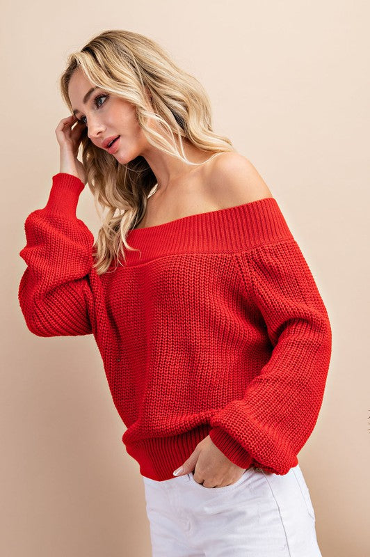 Off shoulder balloon sleeve sweater