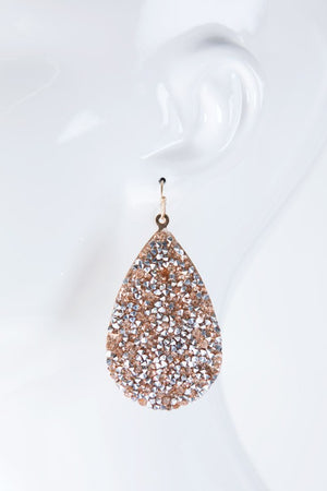 Glitter rhinestone teardrop earrings