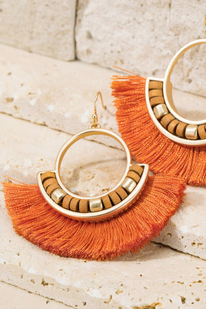 Tassel and wood bead earrings RUST