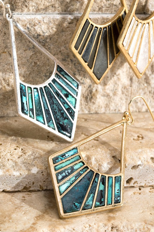 Two tone art deco earrings