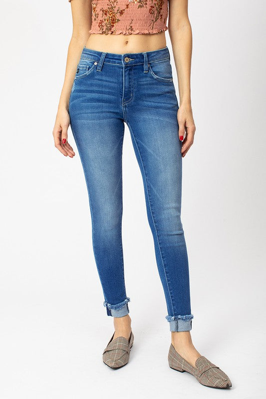 Mid rise ankle skinny jeans