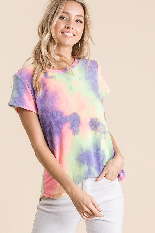 Purple multi tie dye tee