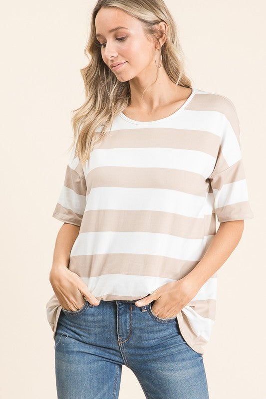 Beige/white stripe tee