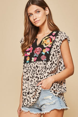 Leopard floral embroidered top