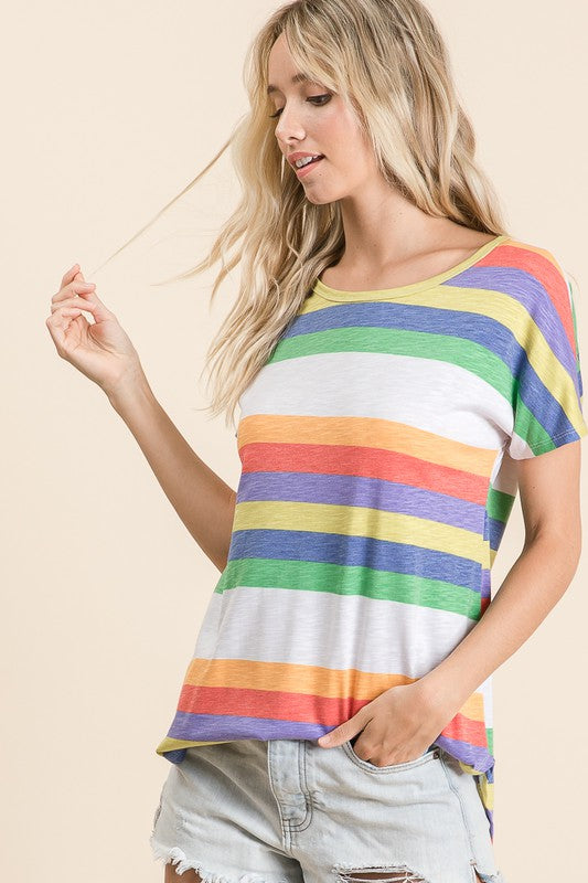 Round neck multi stripe print tee