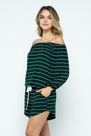Off the shoulder green stripe romper