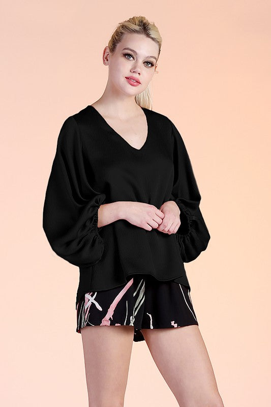 Hammered Satin Balloon Sleeve Top