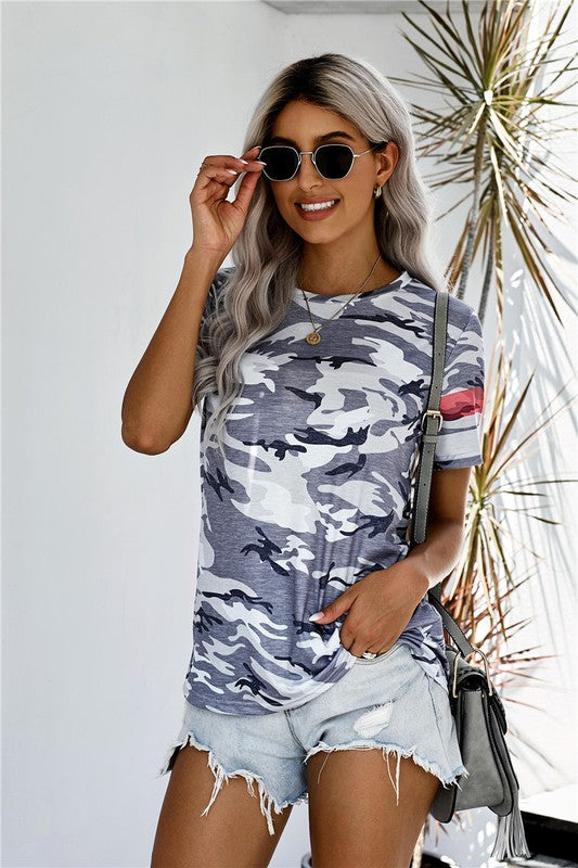 Grey camo top with stripe sleeve
